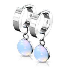 Semi Precious Opalite Huggie Dangle Earrings