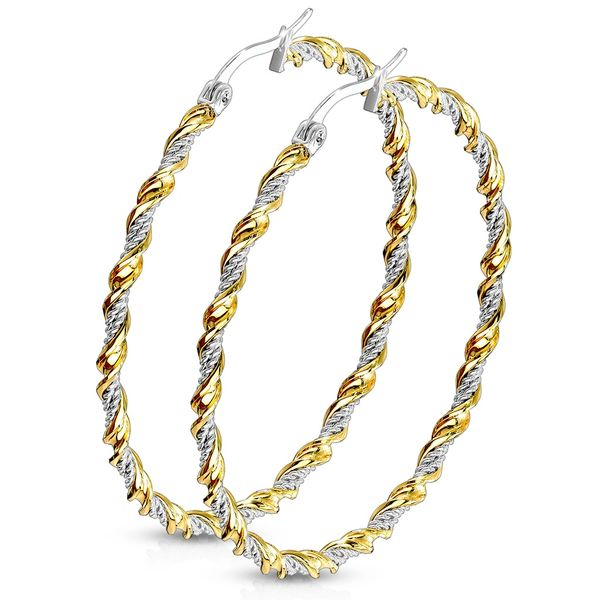 50mm Two Tone IP Braided Hoop