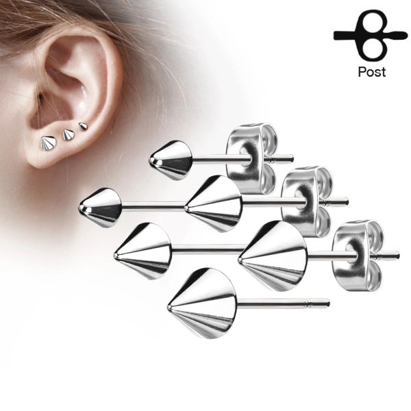 3mm Stainless Steel Spike Stud Earring