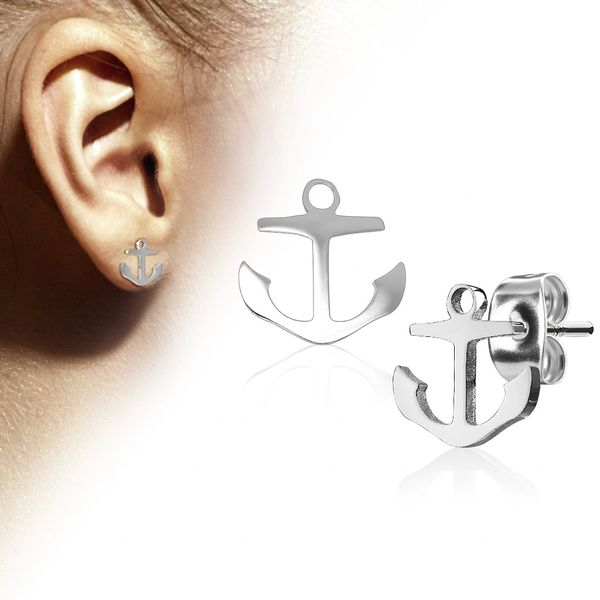 Stainless Steel Anchor Stud Earrings