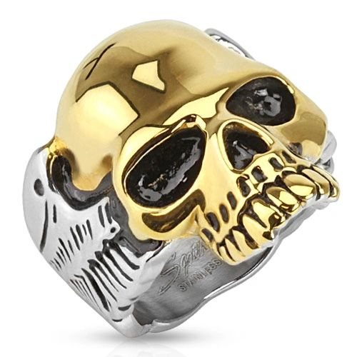 Gold Skull with Wings