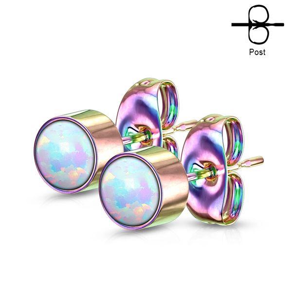 Opal Bezel set Rainbow Studs