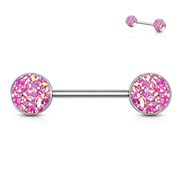 Pink Druzy Stone Nipple Bar
