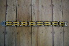 Silver and Yellow Stainless Steel Bike Chain Bracelet