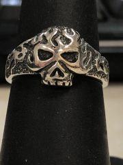 Silver Skull With Flames