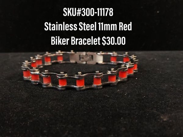 11mm Red Biker Bracelet