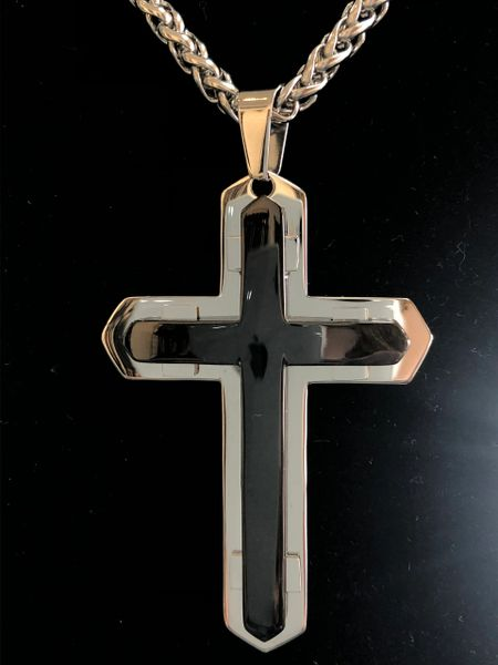 TWO TONE 3-D STAINLESS CROSS