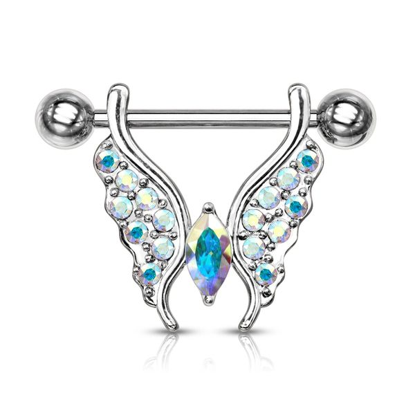 14 GA 9/16 5MM AURORA BOREALIS BUTTERFLY NIPPLE BAR