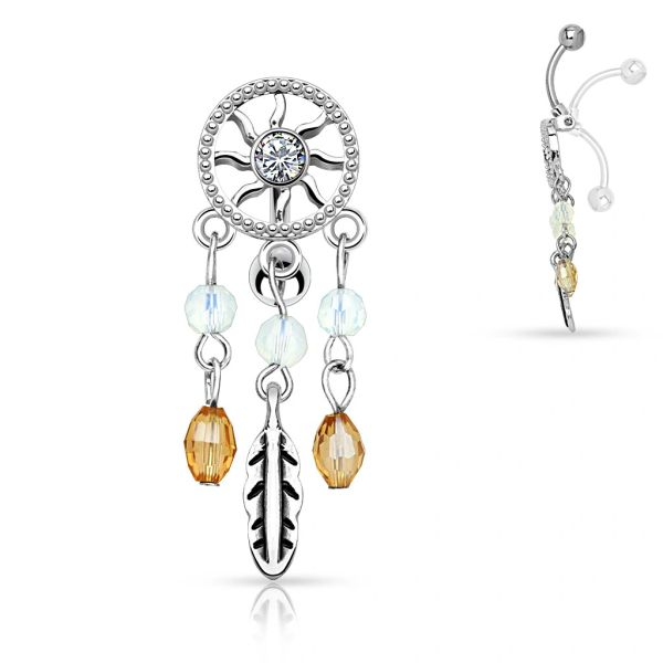 CZ DREAM CATCHER DANGLE CHANDELIER TOP DOWN NAVEL RING