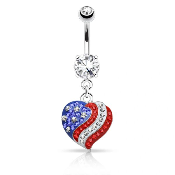 CRYSTAL PAVED AMERICAN FLAG NAVEL RING