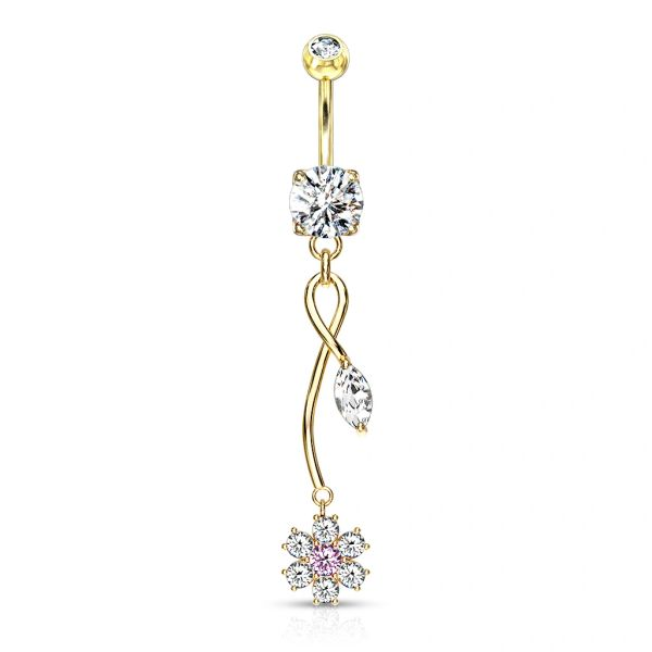 GOLD TONE CZ FLOWER WITH VINE DANGLE NAVEL RING