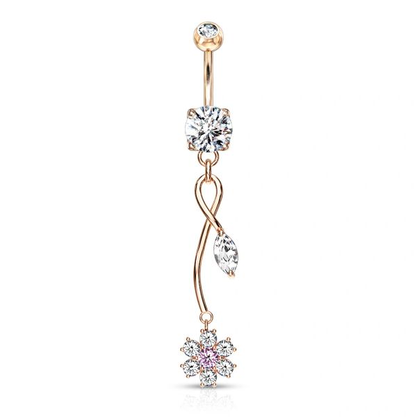 ROSE GOLD TONE CZ FLOWER WITH VINE DANGLE NAVEL RING