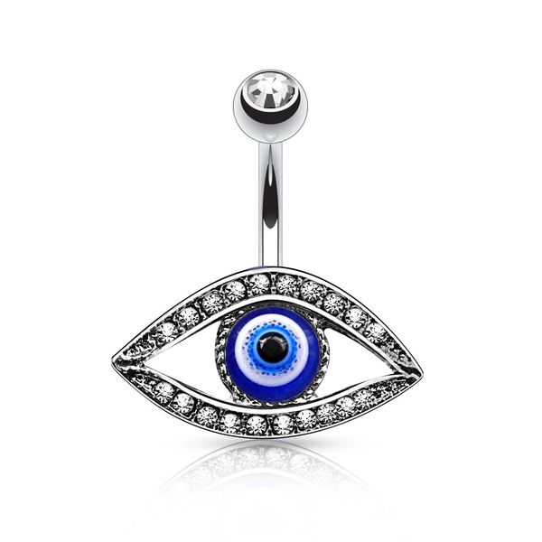 LUCKY EVIL EYE NAVEL RING