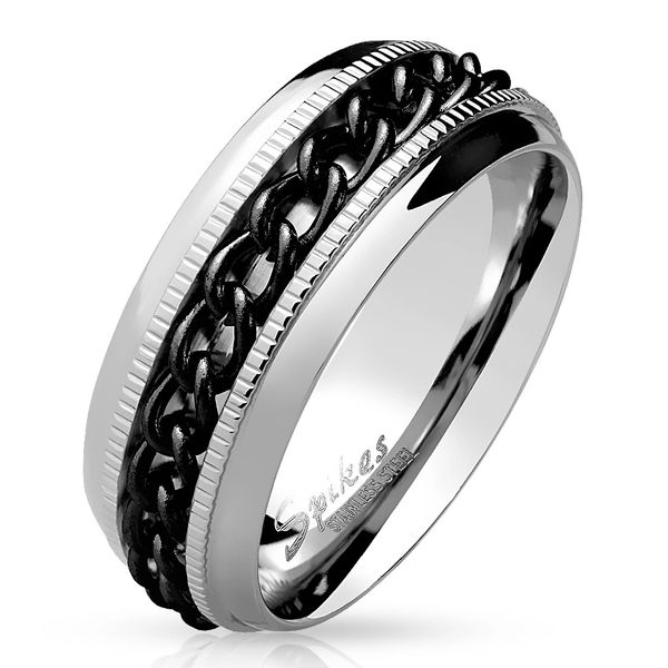 BLACK PVD CHAIN CENTER SPINNER RING