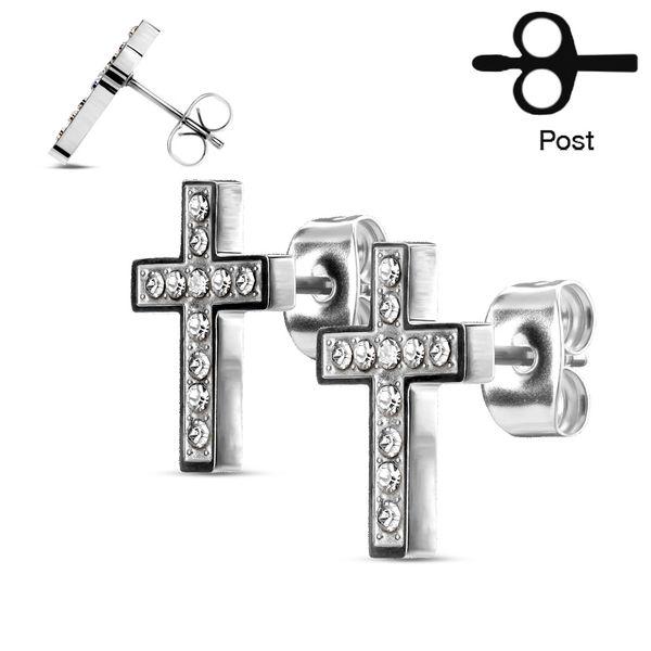 Cross CZ Stud Earring
