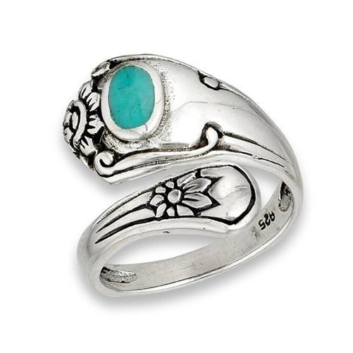 Silver Spoon Ring with Synthetic Turquoise