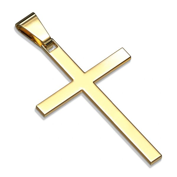 Slim Stainless Steel and Gold Plated Cross