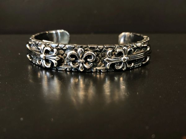Fleur De Lis Cross Cuff Bracelet