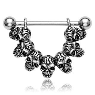 """LUCKY SEVEN"" SKULL HEAD NIPPLE BAR"