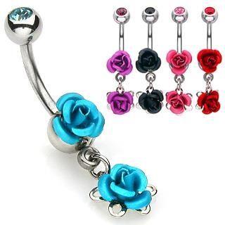 ROSE/RED NAVEL RING
