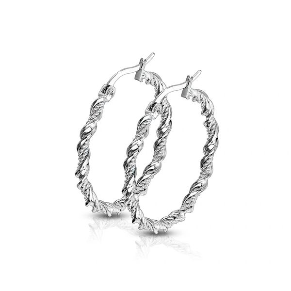 small stainless steel twisted hoops