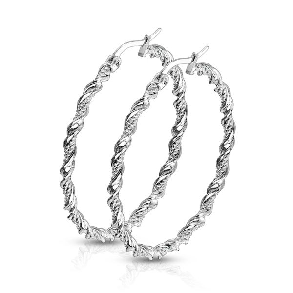 medium sized stainless steel twisted hoops
