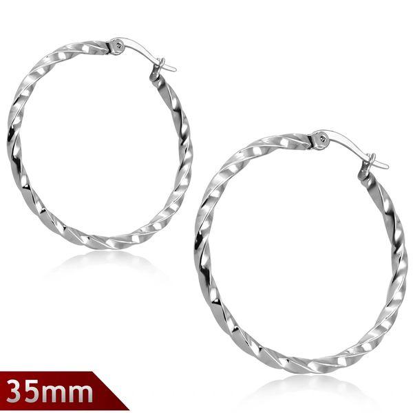 Twisted Hoop Earrings 35mm