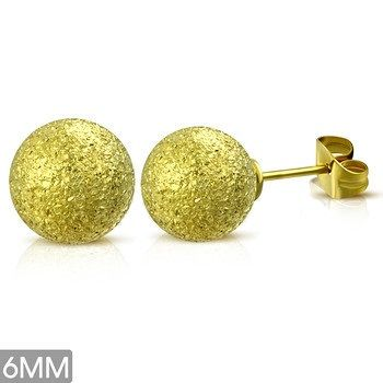Gold Plated Sandblasted Ball Studs 6MM