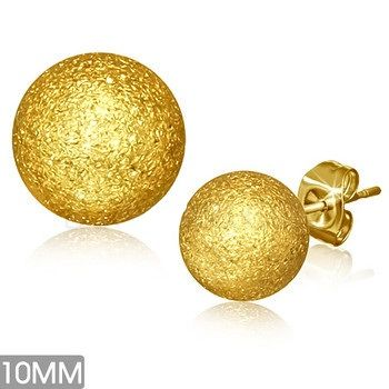 Gold Plated Sandblasted Ball Studs 10MM