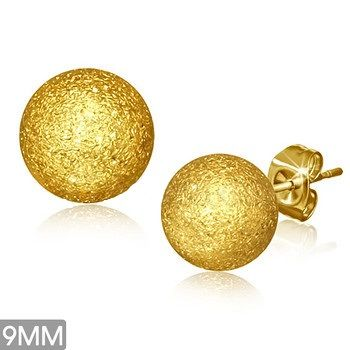 Gold Plated Sandblasted Ball Studs 9MM