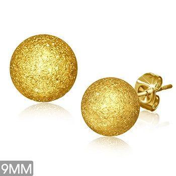 Gold Plated Sandblasted Ball Studs 9MM