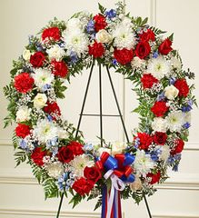 Serene Blessings Red, White & Blue Standing Wreath- sym22