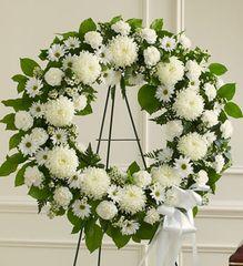 Serene Blessings White Standing Wreath- sym23