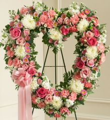 Always Remember Pink Floral Heart Tribute- sym24