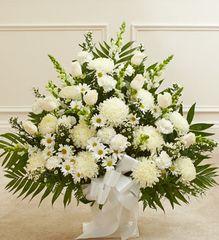 Heartfelt Tribute White Floor Basket Arrangement ,large- sym31