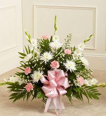 Tribute Pink & White Floor Basket Arrangement- sym36