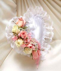 Pink & White Satin Heart Casket Pillow- sym52