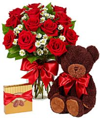 Luxury One Dozen Red Roses Bundle - can07