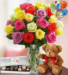 Congratulations Assorted Roses, 24 Stems - con01
