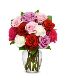 One Dozen Assorted Sweetheart Roses - und15