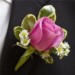 PURPLE ELEGANCE BOUTONNIERE- ROSE - wed27