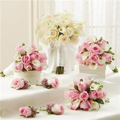 PINK AND WHITE PERSONAL PACKAGE (1 WHITE BRIDAL BOUQUET, 3 BRIDESMAID BOUQUETS AND 4 BOUTONNIERES -wed33