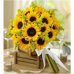 COUNTRY WEDDING ALL SUNFLOWER BOUQUET - wed38