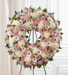 Serene Blessings Pink & White Standing Wreath- sym28