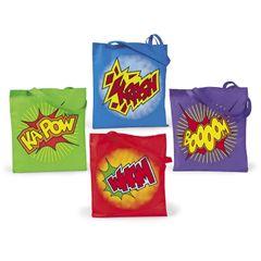 12 Super Hero Tote Bags