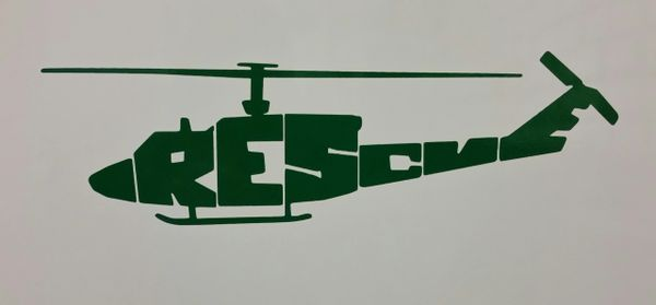 UH-1N Helicopter Rescue Vinyl Window Decal
