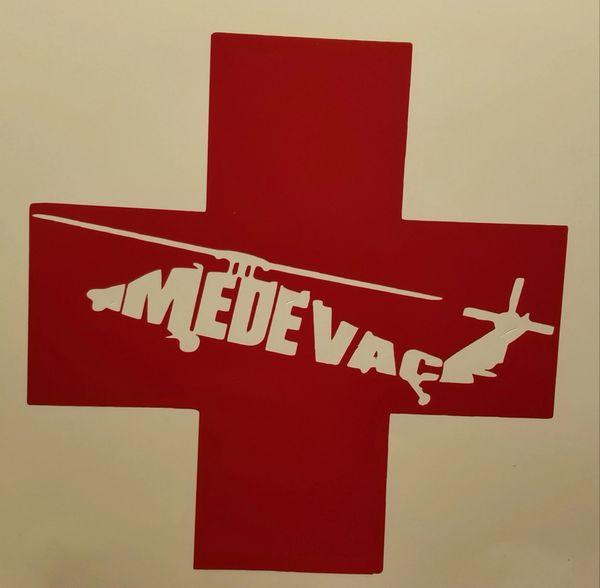 H60 Medevac Helicopter Red Cross Vinyl Window Decal