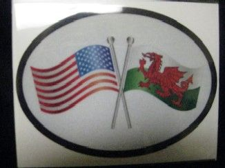 USA/Wales Crossed Flags Decal and Bumper Sticker