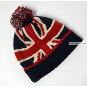 Union Jack Wool Winter Hat with pom-pom