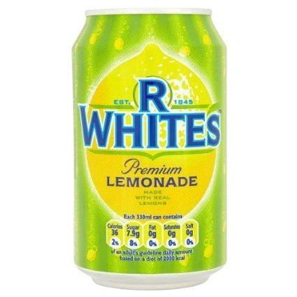 R White's Lemonade cans